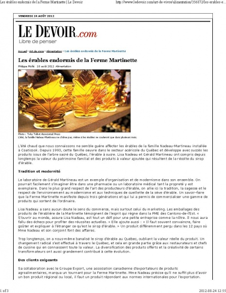 Le DEVOIR- Philippe Mollé Agosto 2012