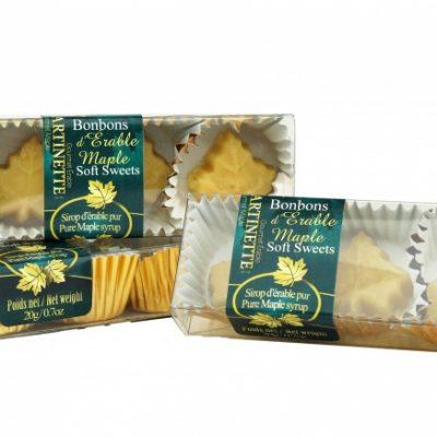 Caramelos fundentes de maple puro- 3 cajas de 3 piezas (de 20g/0.7oz) en forma de hoja de maple