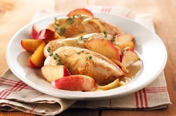 Pollo con manzanas, maple y tomillo