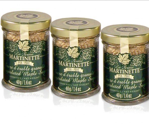 Azúcar de maple puro granulada gruesa- 3 Pequeños tarros de vidrio de 40 g / 1.4 US fl oz