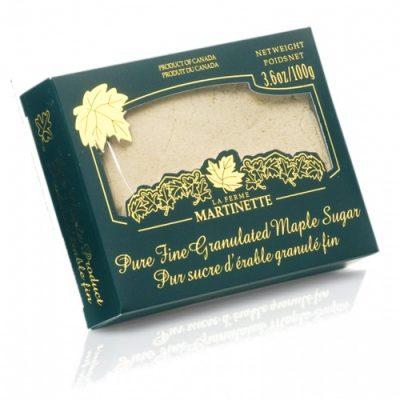 Azúcar de maple puro granulado FINO – Caja de de 100 g /  3.6 oz