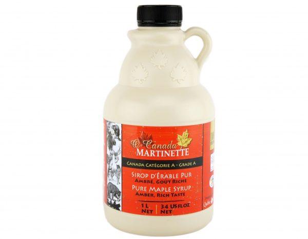 Jarabe puro de maple – ÁMBAR, Sabor Rico – jarra de plástico 1L / 34 US fl oz