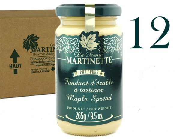Fondant de maple ( Crema pura de maple)- 12 tarros de vidrio de 265 g / 9.5 oz