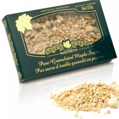 Azúcar de maple puro granulado GRUESO – Caja de 225 g / 3.6 oz