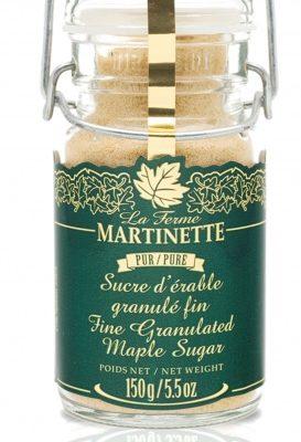 Azúcar de maple puro granulado FINO- Tarro con seguro de metal de 150 g / 6 oz