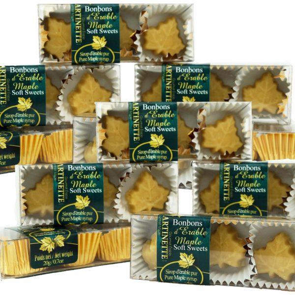 Caramelos fundentes de maple puro- 12 cajas de 3 piezas (de 20g/0.7oz) en forma de hoja de maple