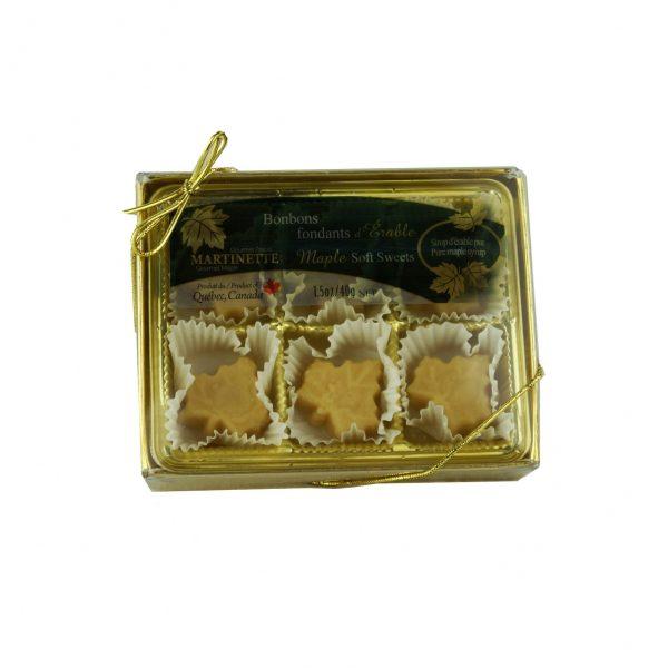 Caramelos fondants de maple – caja de 6 piezas (40 g / 1.5 oz) en forma de hoja de maple
