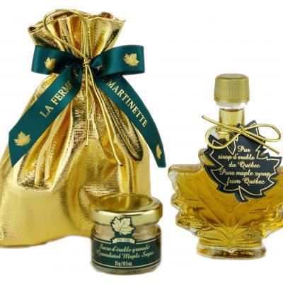 Jarabe de maple puro CANADÁ-A Dorado, sabor delicado 50ml – Bolsa  – Embalaje