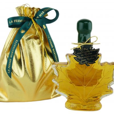 Hoja de maple de 250 ml-8.5 US Fl.oz Canada A- Jarabe puro de maple Botella de vidrio- bolsa de oro
