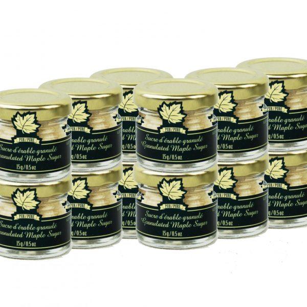 Azúcar de maple puro granulado FINO-Tarros de 12×15 g -Mignons