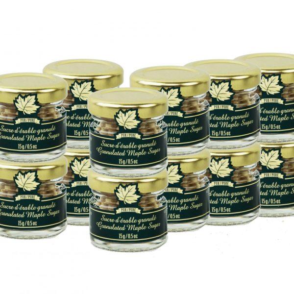 Azúcar de maple puro granulado GRUESO-Tarros de 12×15 g , Mignons
