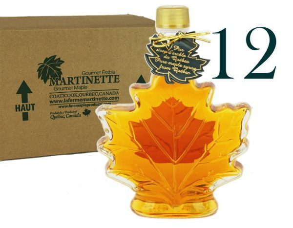 Hoja de maple 12×250 ml-8.5 US Fl.oz Canada A- Jarabe puro de maple Botella de vidrio