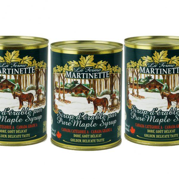 Jarabe puro de maple CANADÁ A- Dorado, sabor delicado en lata 3 x 540 ml