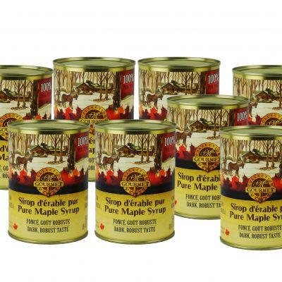 Jarabe puro de maple 8x540ml en lata CANADA-A OSCURO, Sabor Robusto