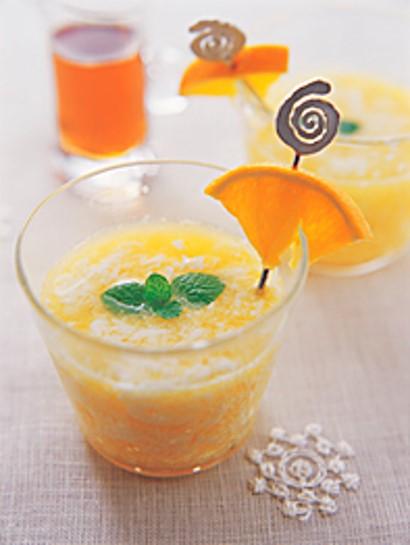 Bebida láctea de naranja y maple