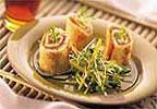 Rollos de tortilla con salmon y maple