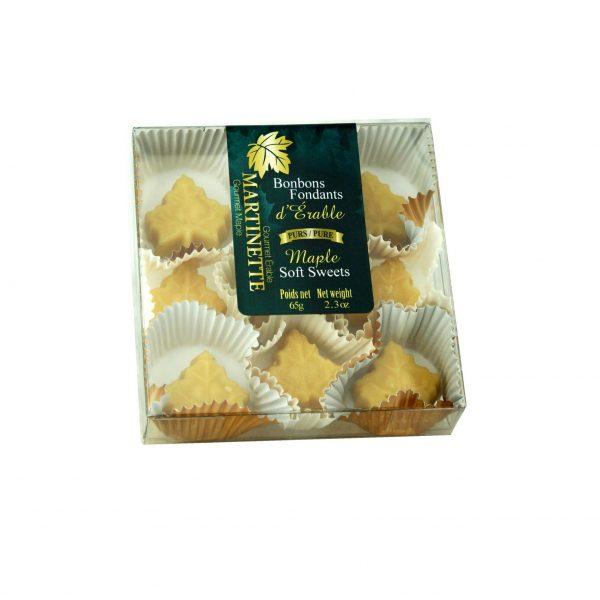 Caramelos fondants de maple – caja de 9 piezas (65 g / 2.3 oz) en forma de hoja de maple