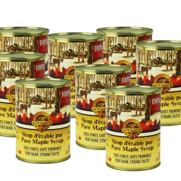 Jarabe puro de maple 8x540ml en lata CANADA-A MUY OSCURO Pronunciación Sabor