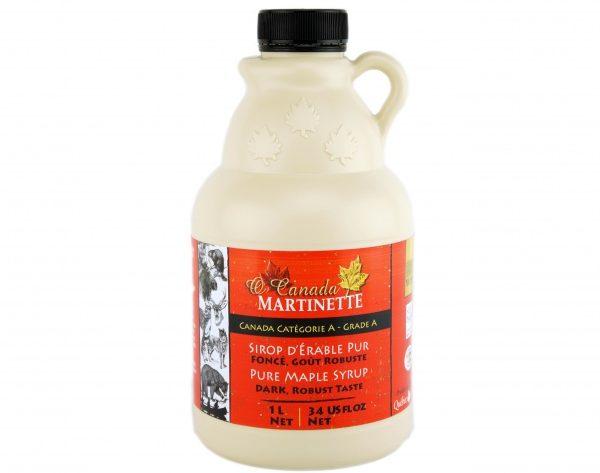 O CANADA – Jarabe puro de maple OSCURO, Sabor Robusto jarra de plástico 1L / 34 US fl oz