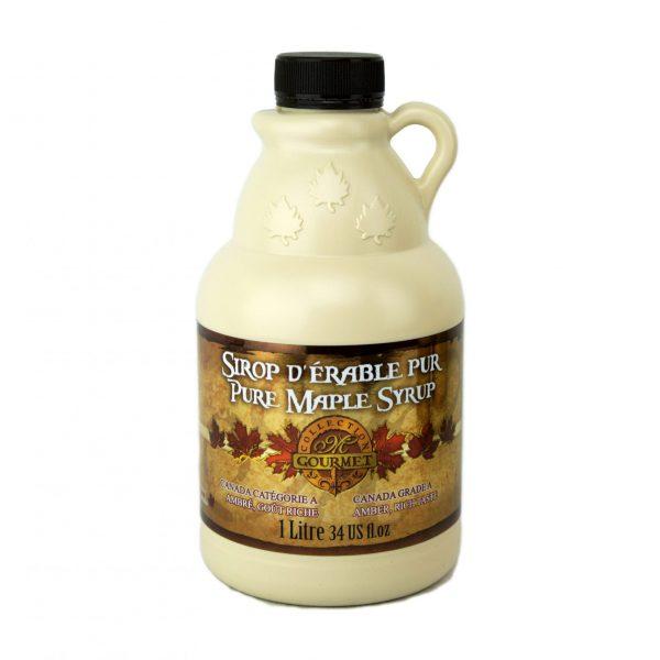 Jarabe puro de maple 1L/ 34 US fl oz. Canada A ÁMBAR, Sabor Rico – jarra plástica