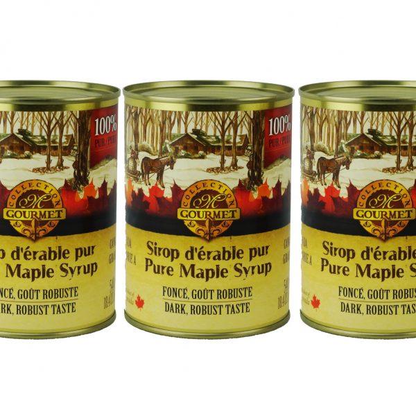 Jarabe puro de maple 3x540ml en lata CANADA-A OSCURO, Sabor Robusto
