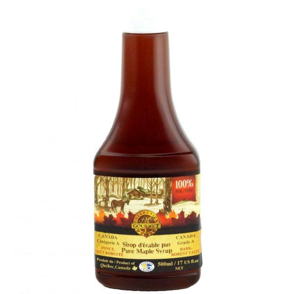 Jarabe puro de maple 500ml – OSCURO, Sabor Robusto – Botella exprimida