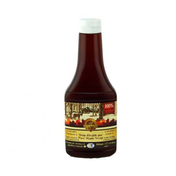 Jarabe puro de maple 500ml – Muy oscuro, sabor fuerte – Botella exprimible
