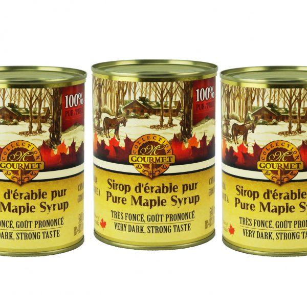 Jarabe puro de maple 3x540ml en lata CANADA-A MUY OSCURO Pronunciación Sabor
