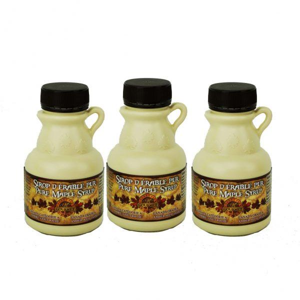 Jarabe puro de maple CANADÁ A- ámbar, rico sabor – 3.4 fl oz / 100 ml – 3 jarras de plástico